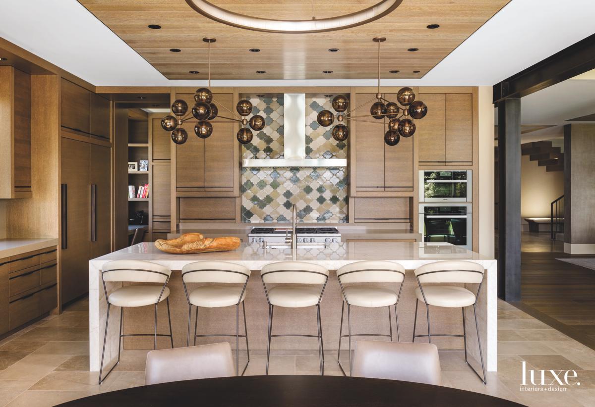 modern neutral brown kitchen barstools