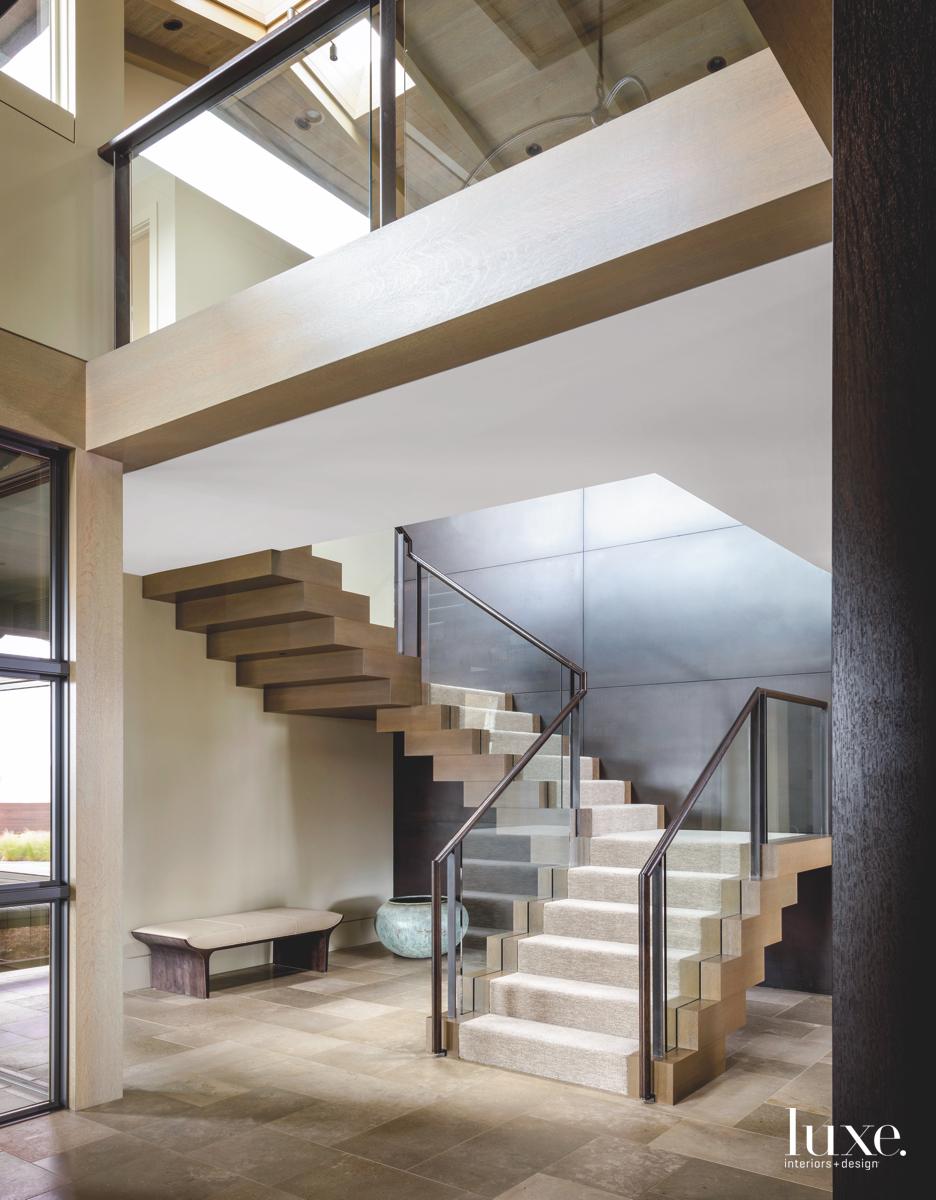 modern neutral staircase glass railing