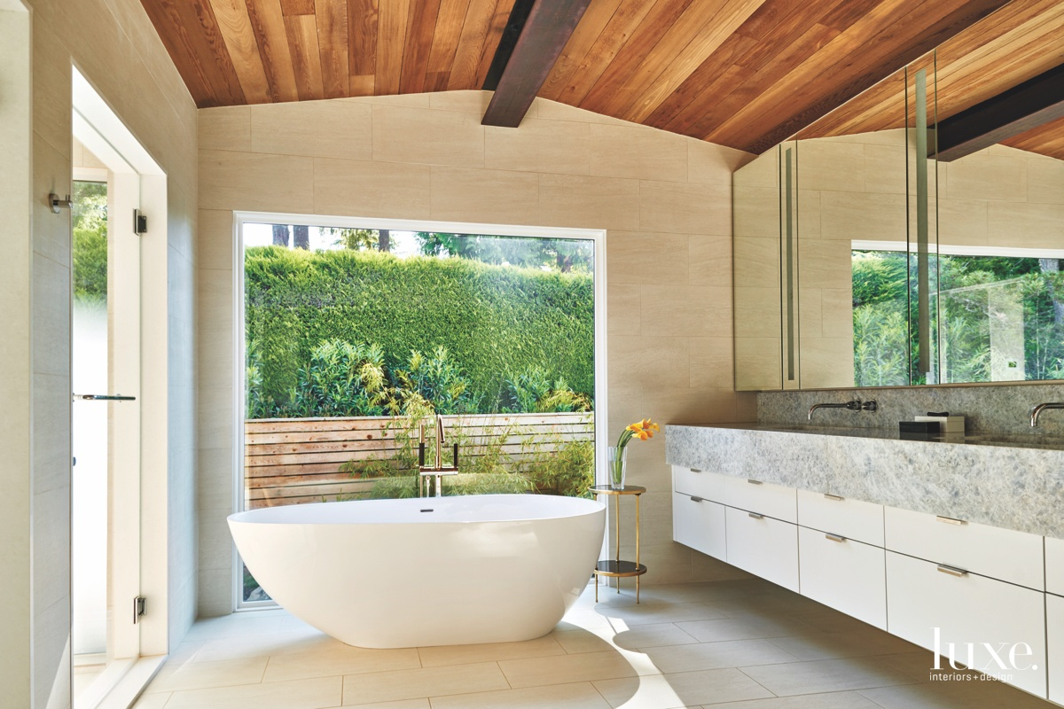 modern neutral bathroom white bathtub
