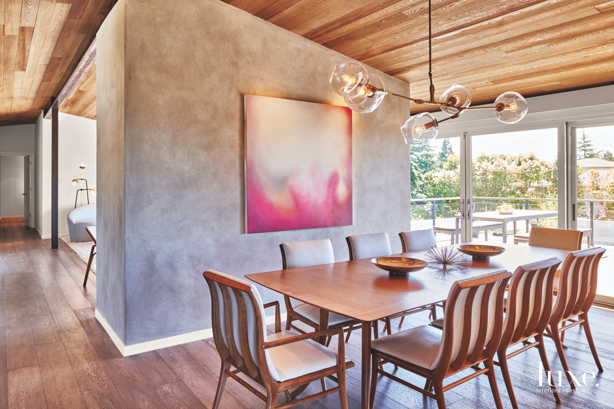 modern dining room pink painting...