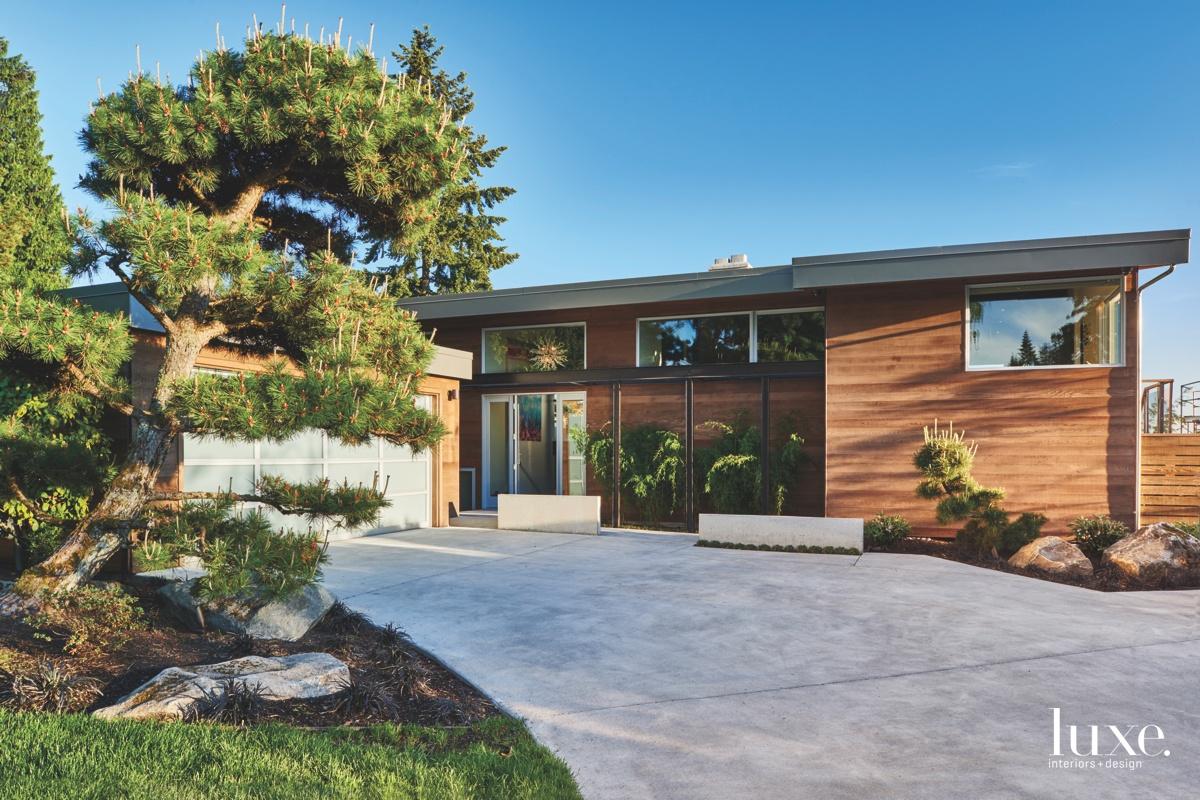 modern brown exterior driveway