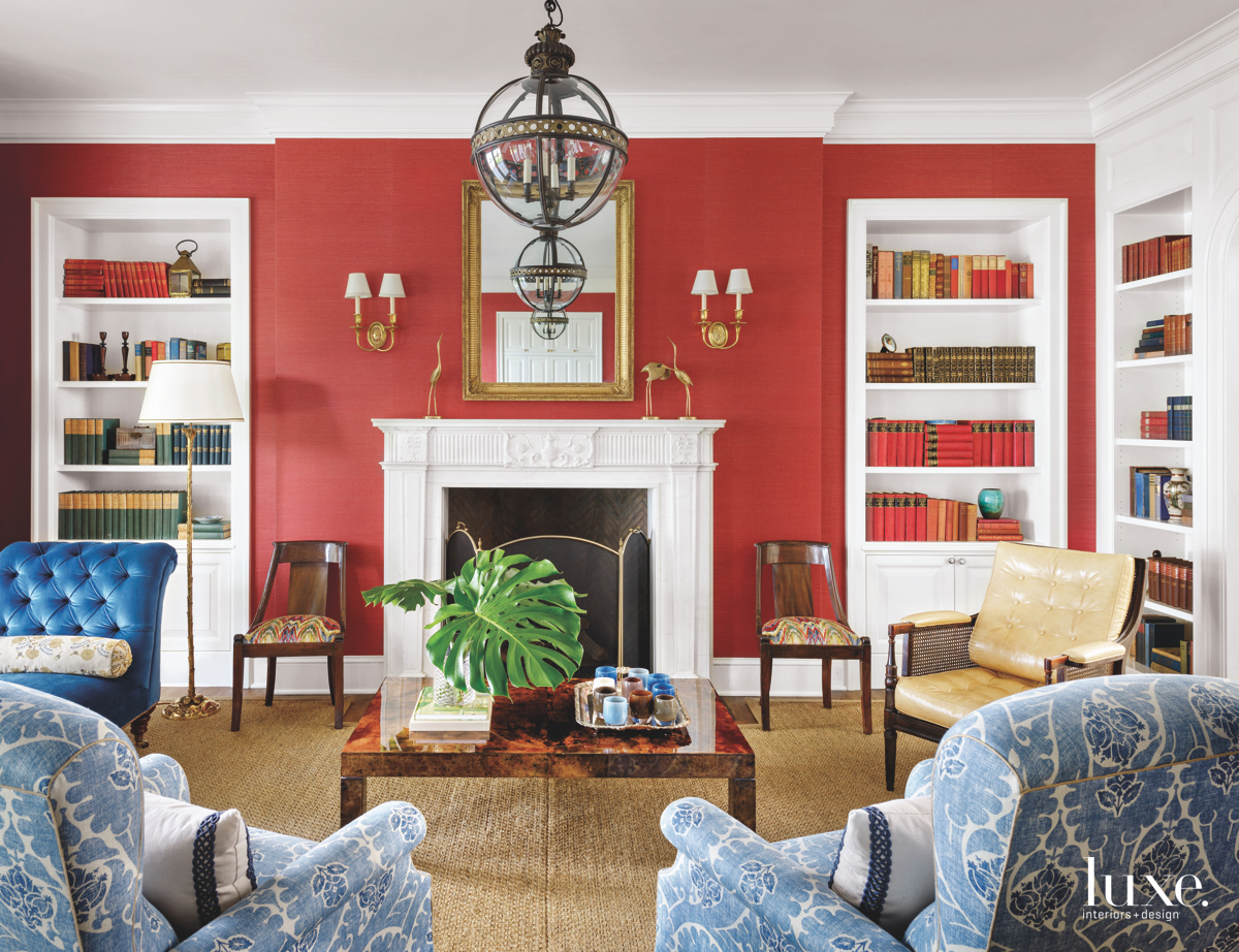 traditional living room red walls...