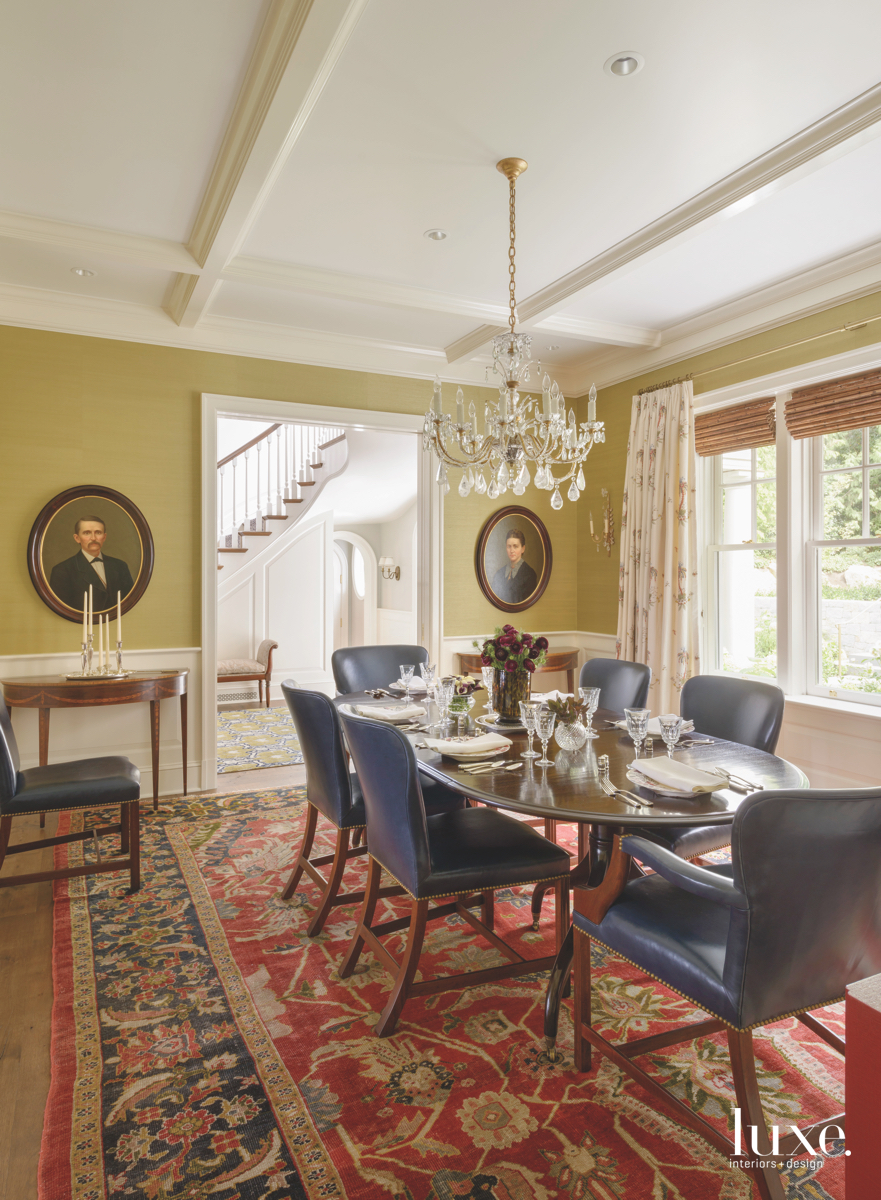 traditional yellow dining room red...