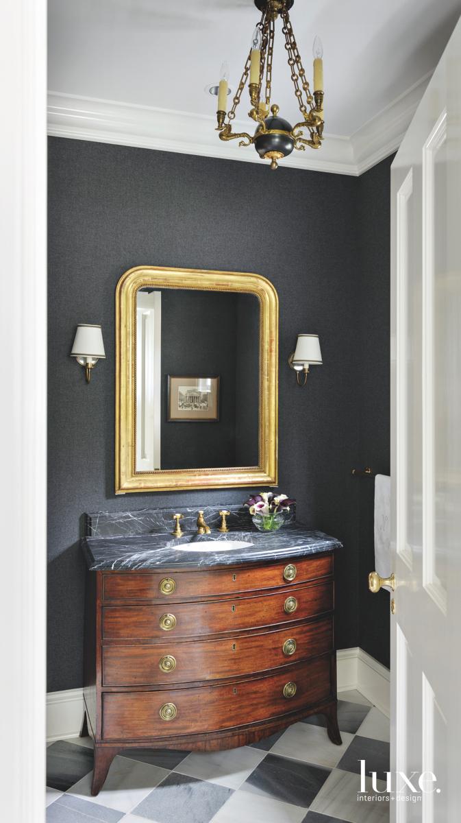 traditional bathroom black wall gold...