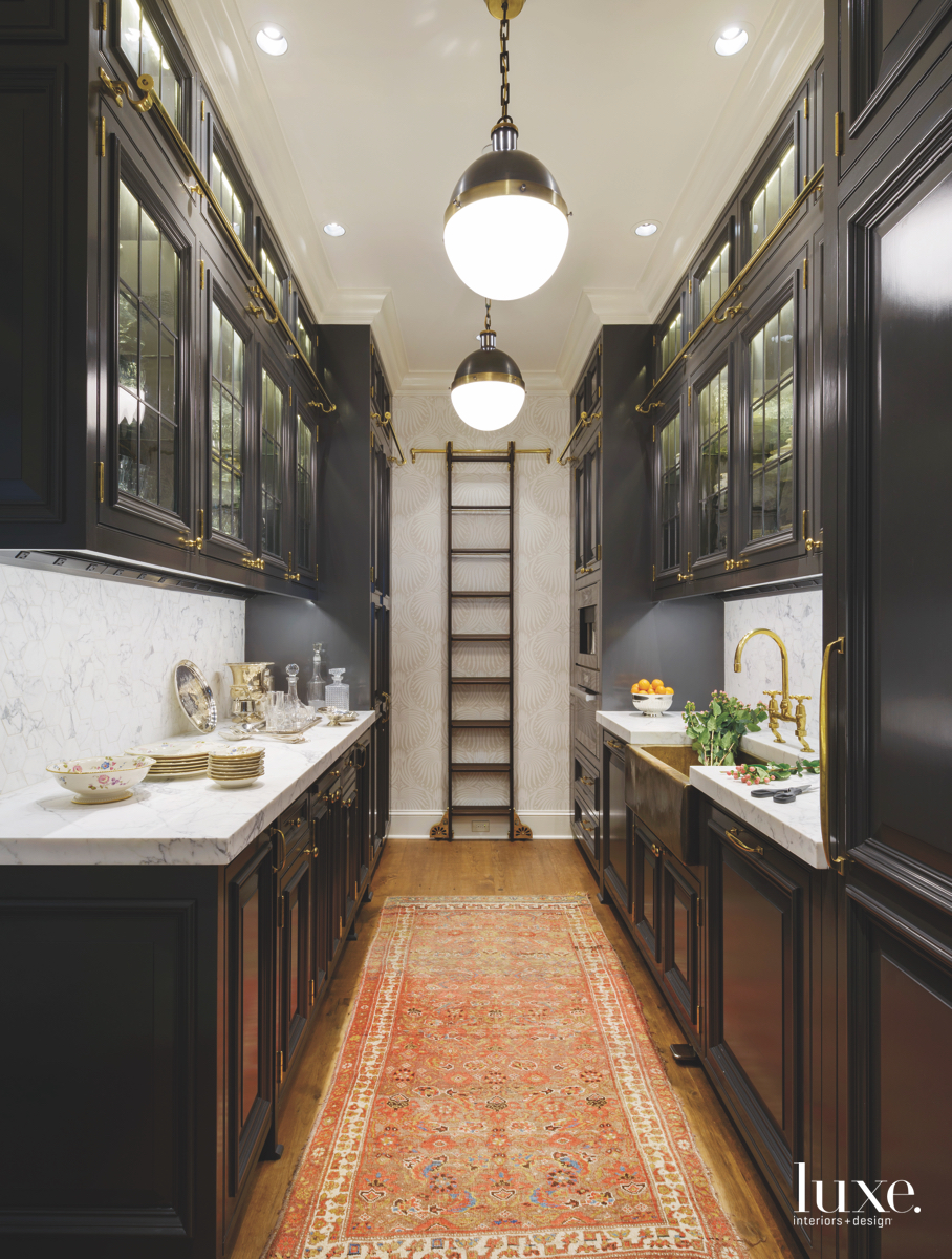 traditional pantry brown and gold accents