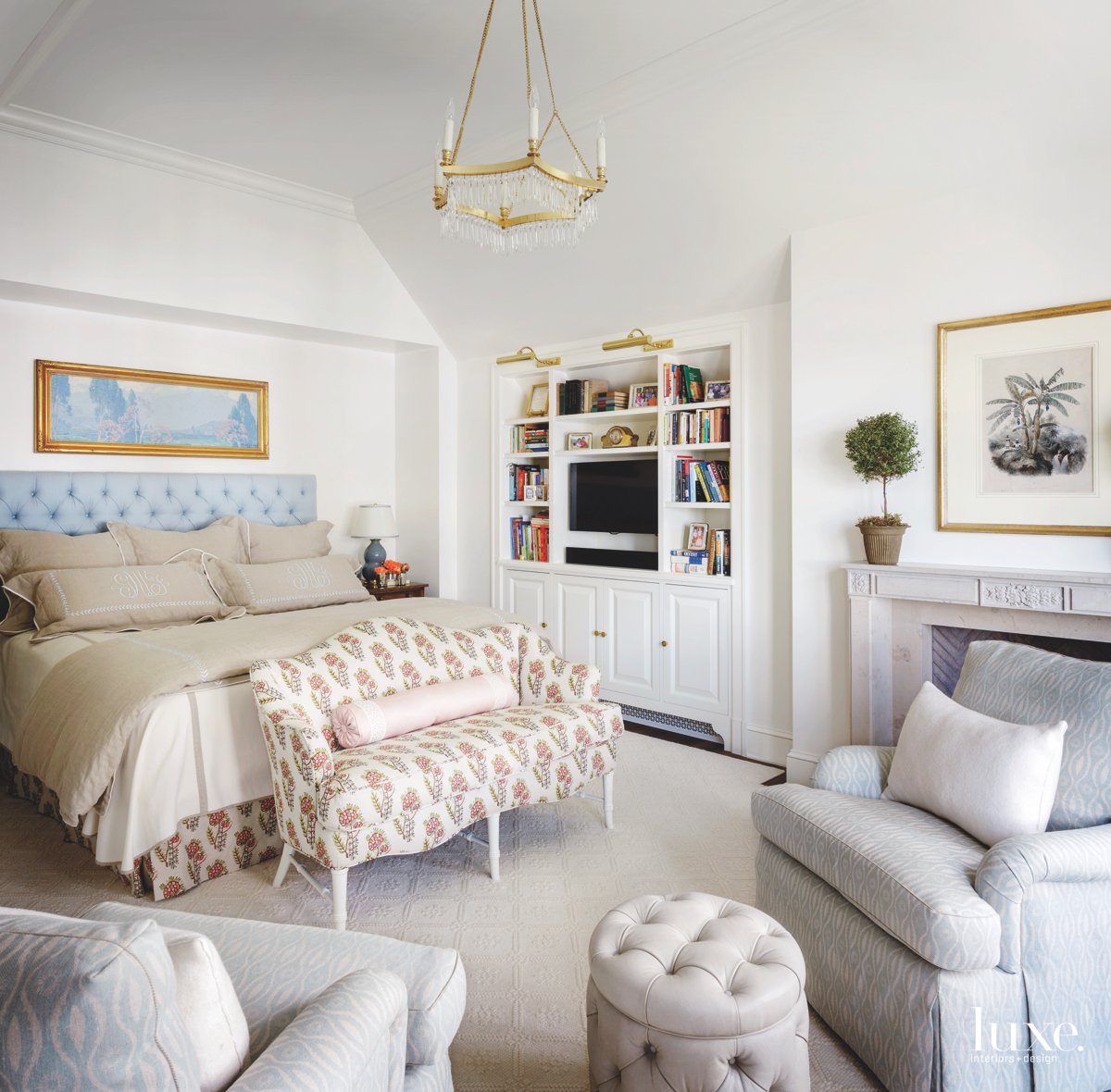 traditional neutral bedroom gold accents