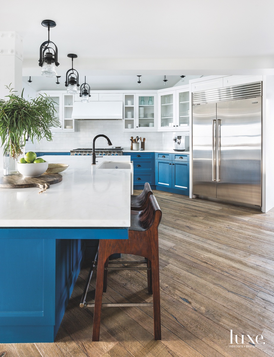 modern kitchen blue blue cabinetry