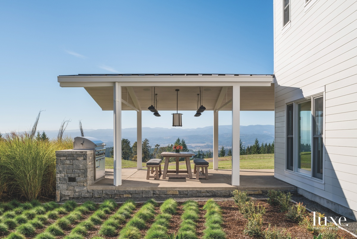 farmhouse exterior landscape outdoor dining...