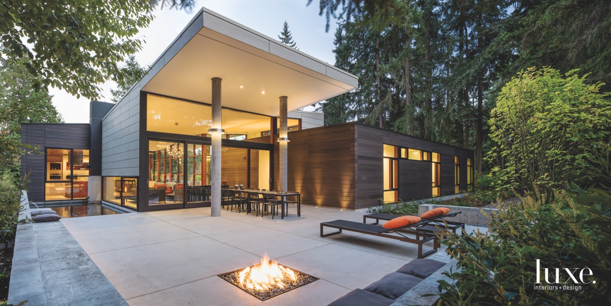modern outdoor terrace fire pit...