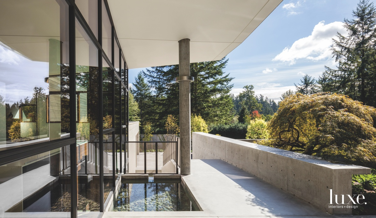 modern exterior reflecting pool column