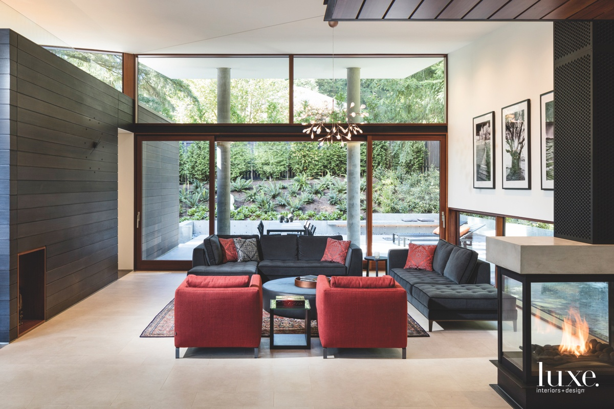 modern living room red accents...