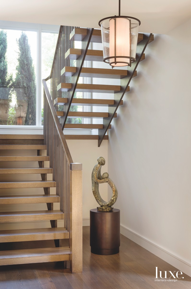 contemporary staircase bronze sculpture