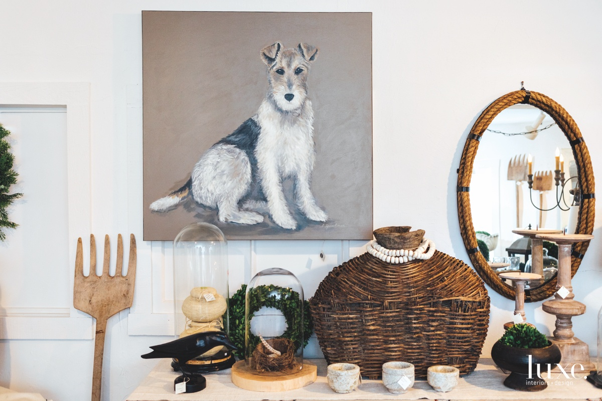Speakman's own artwork, such as this dog portrait, is also on display at her store.