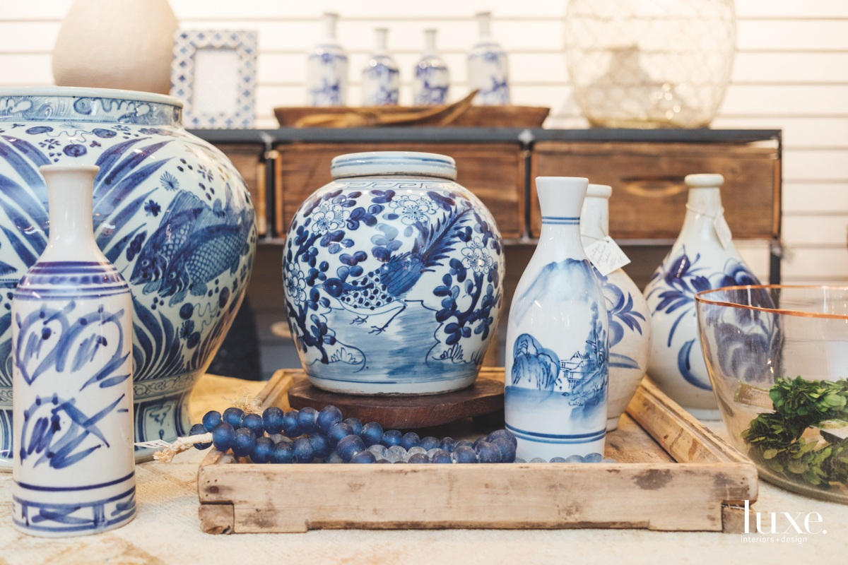 Treasures in the store include blue-and-white ceramics.