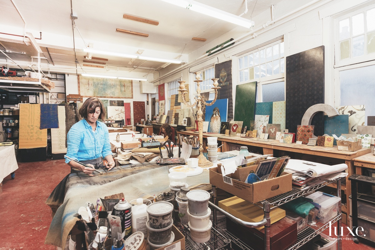 Artist Cathy Conner's home base of operations is in an airy Seattle studio, but she can often be found working on-site applying an array of decorative finishes to surfaces.