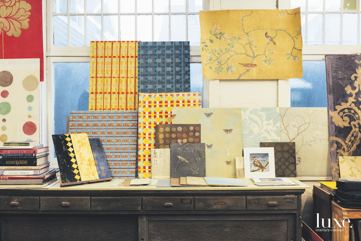 Stacks of books provide some of the inspiration for Conner's diverse practice, which can range from wood and marble faux-finishes to more figural works, as well as abstract designs and patterns; she also applies decoration to furniture and ceramics.