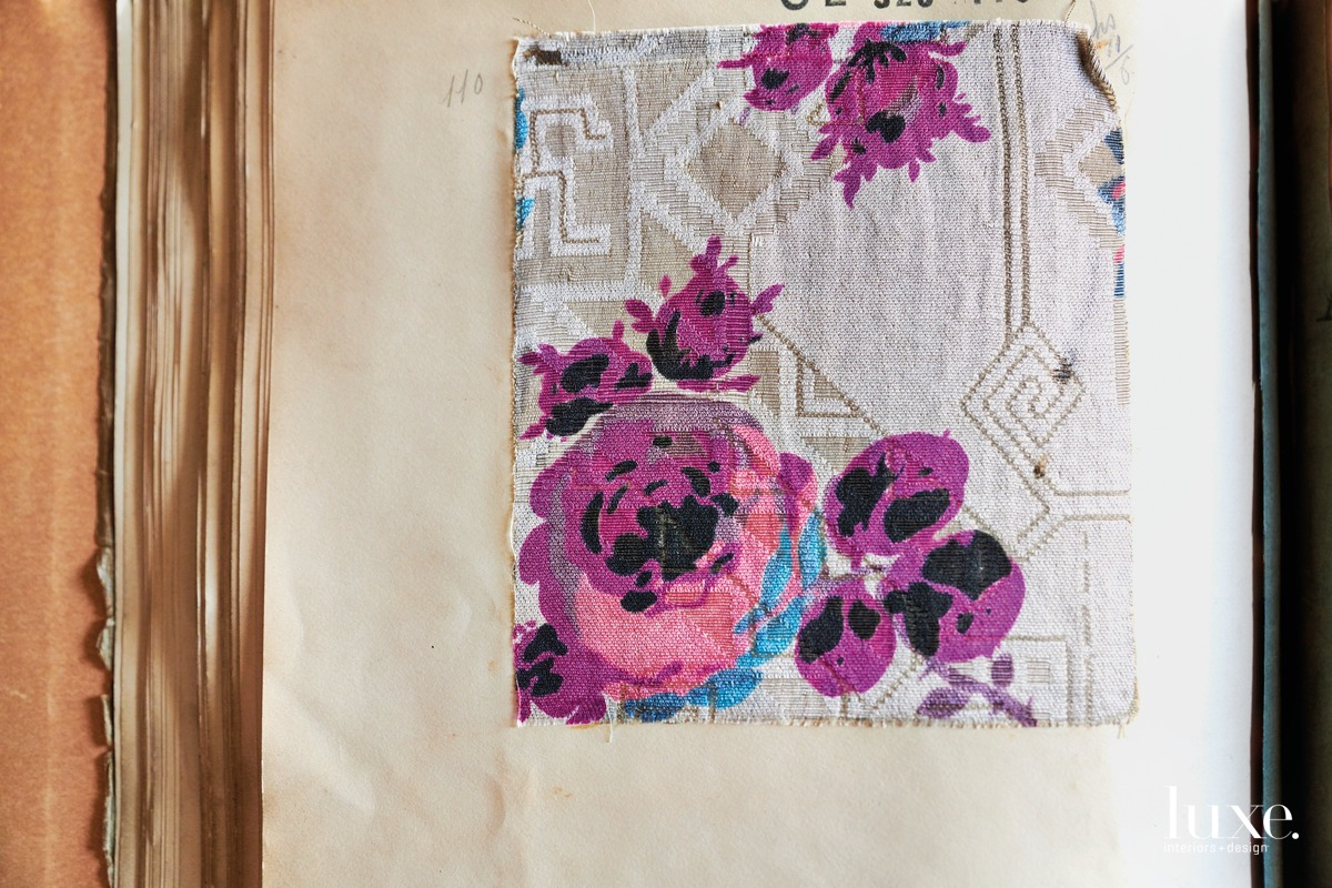 A floral design is a printed silk cloth from a 1926 French sample book.