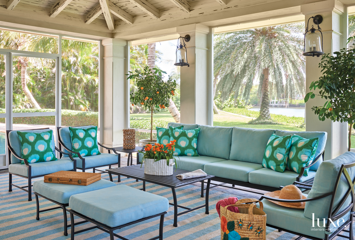 blue seating screened porch