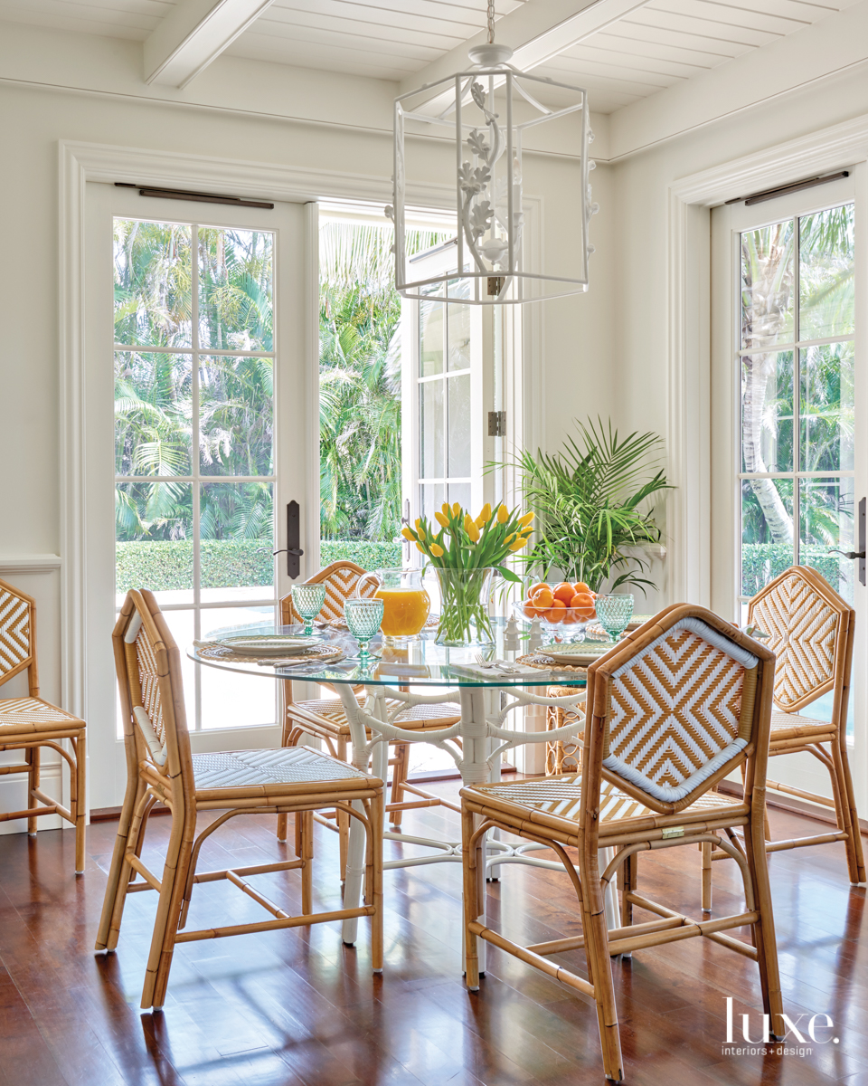 rattan chairs breakfast nook