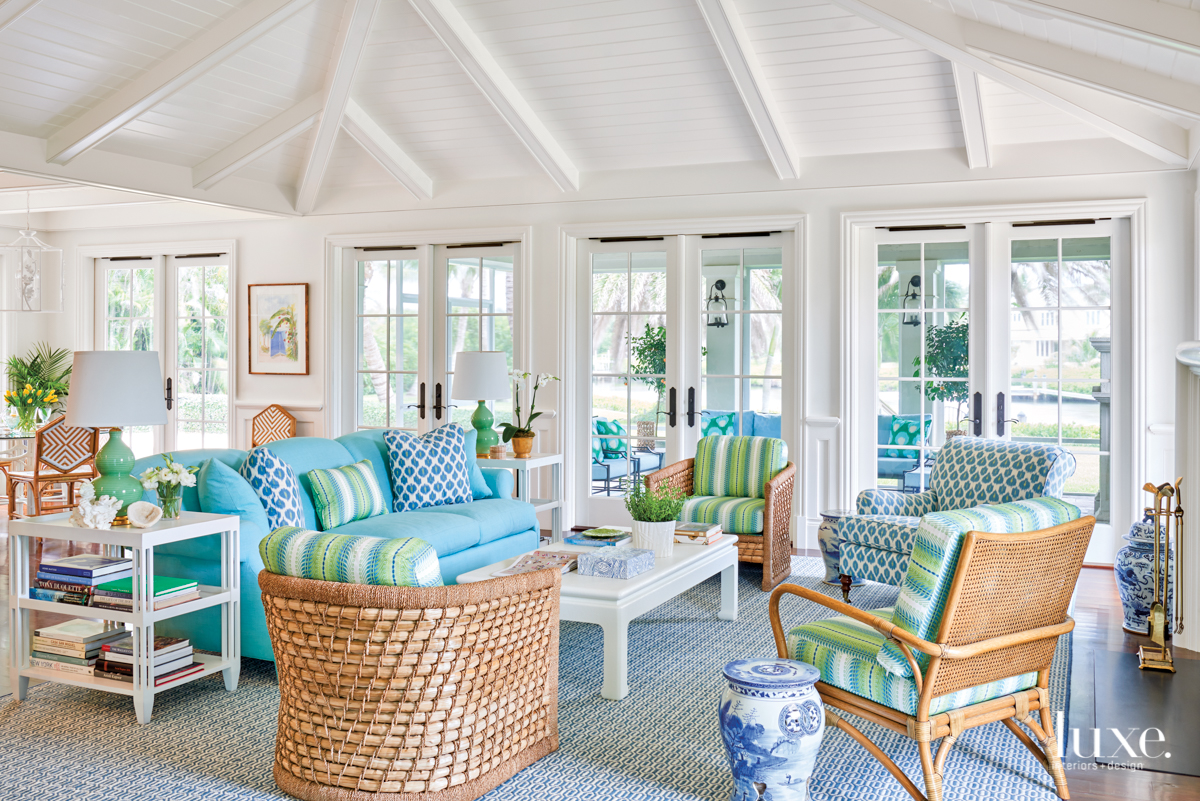 blue green couches white living...