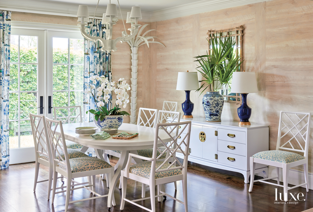 white dining table with vintage...