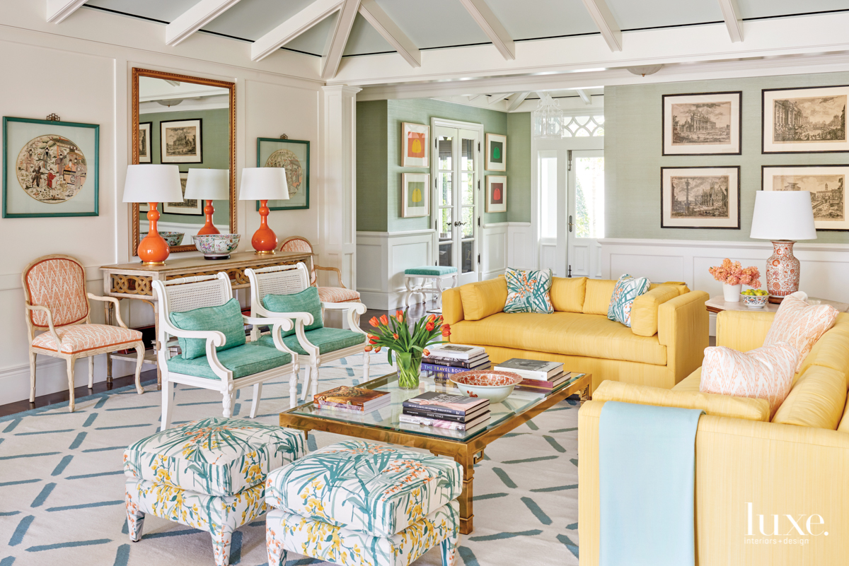 colorful living room yellow couch...
