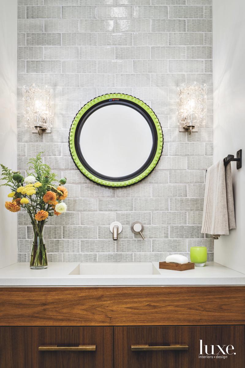contemporary bathroom green accents