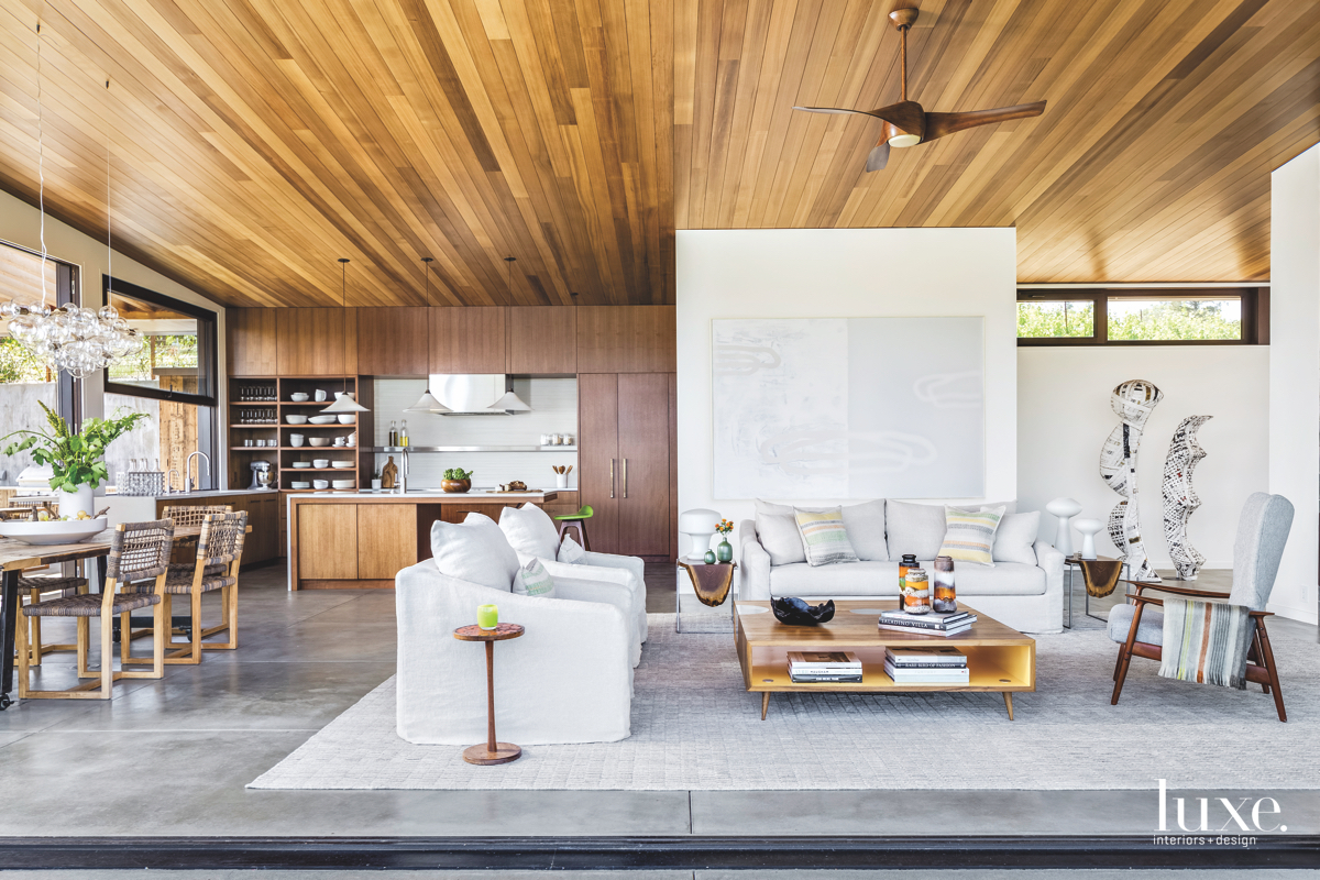 contemporary great room brown white...