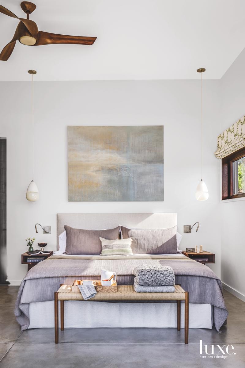 contemporary neutral bedroom bed