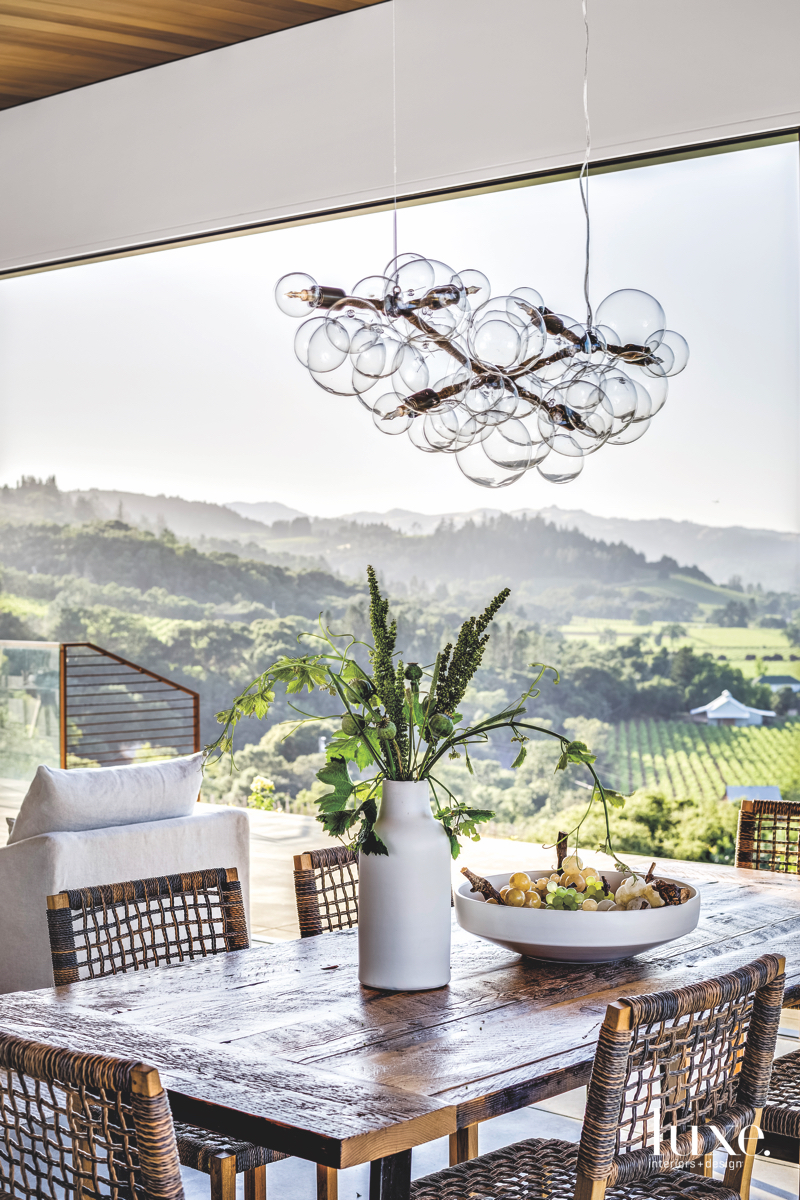contemporary outdoor dining sitting area...