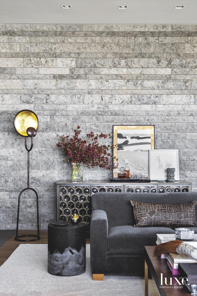 modern gray living room velvet...