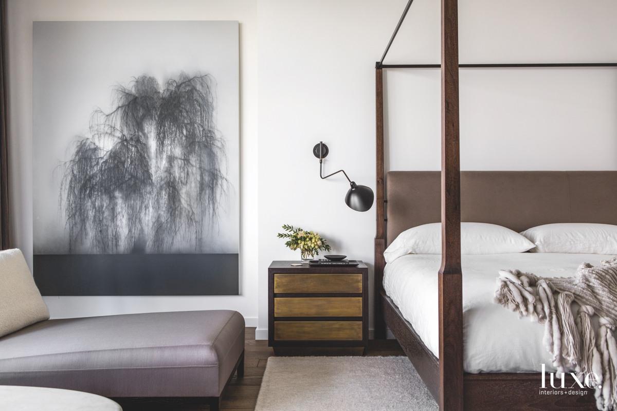 modern neutral master bedroom brown...