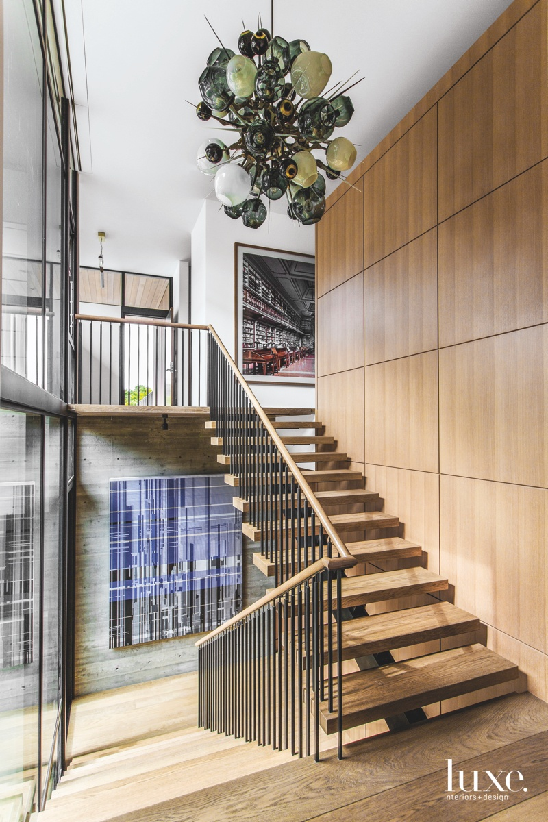modern wood staircase artwork