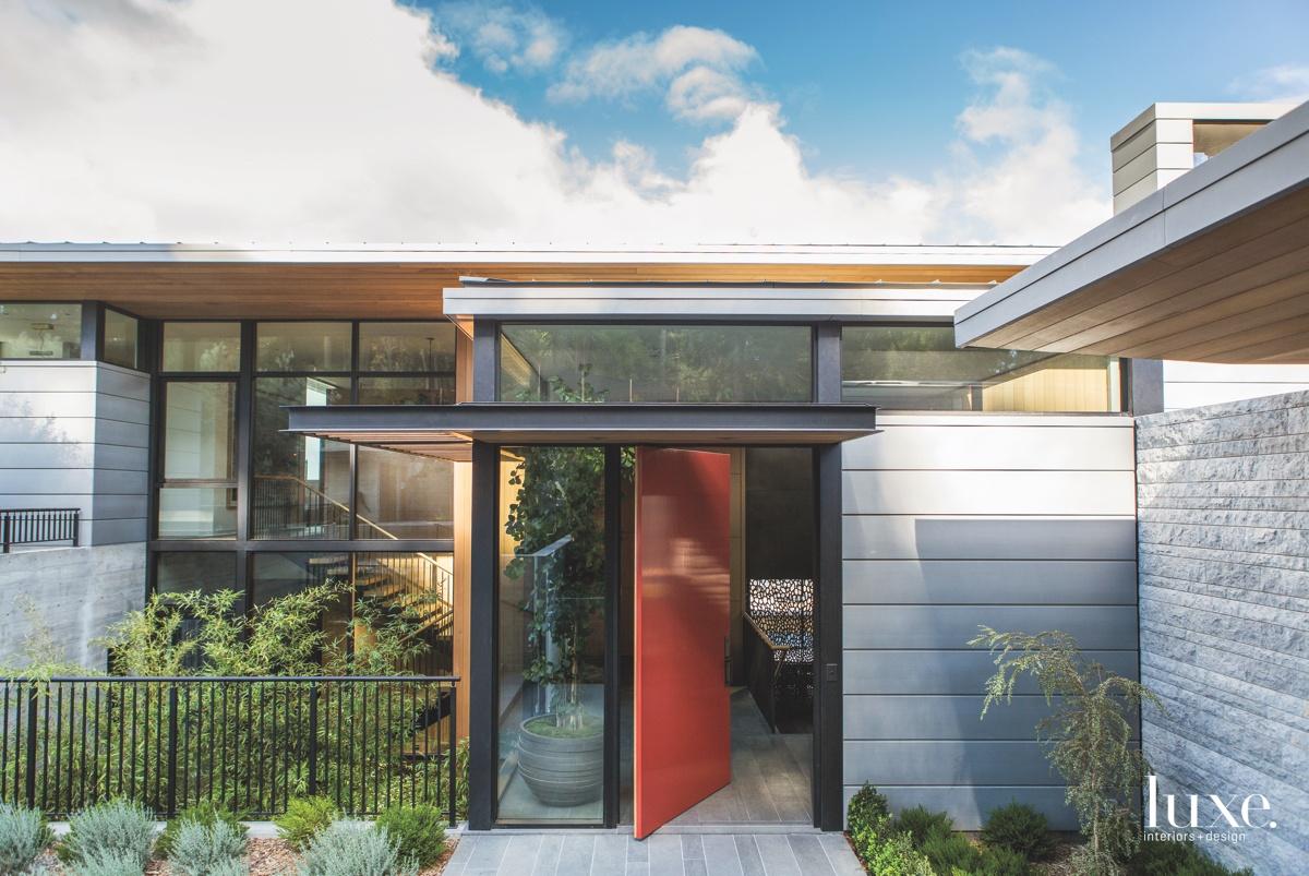 modern exterior entry red door