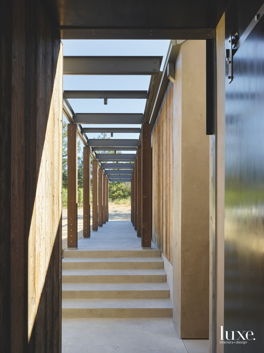 modern exterior breezeway columns metal...