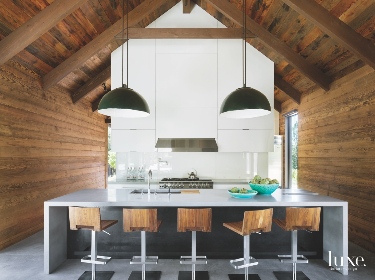 modern kitchen wood barstools concrete...