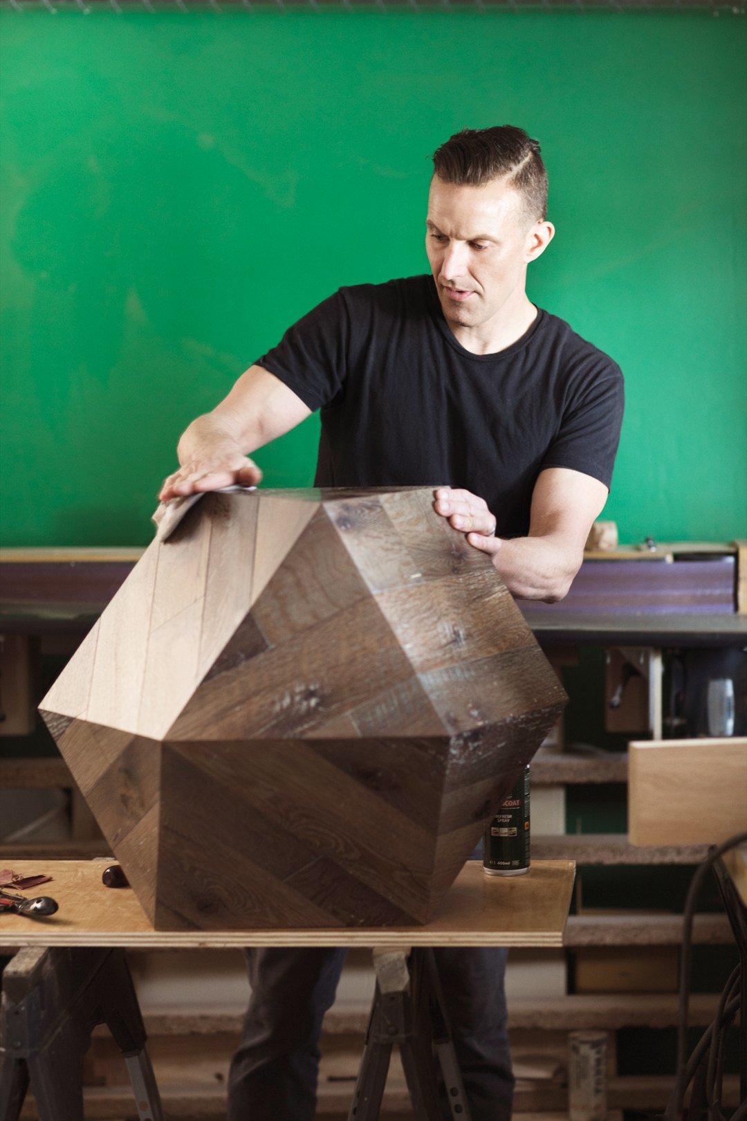 Statsky keeps experimental and personal projects around his Santa Cruz workshop, including a hollow geometric shape, which he wrapped with shop-sawn reclaimed oak veneers.