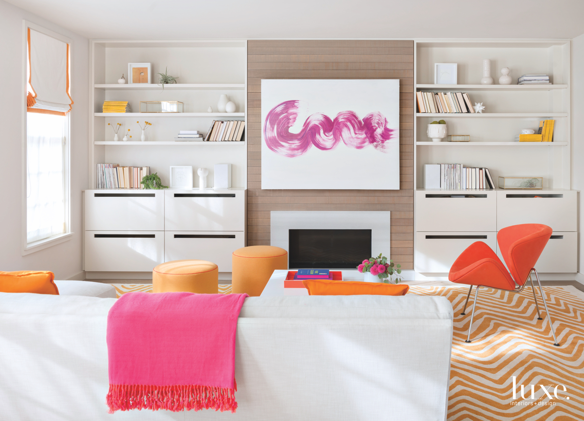 contemporary family room sectional pink...