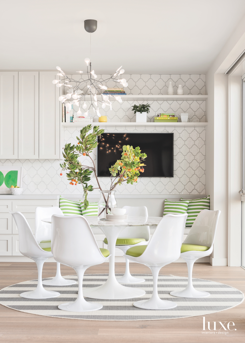 contemporary white dining area kitchen...