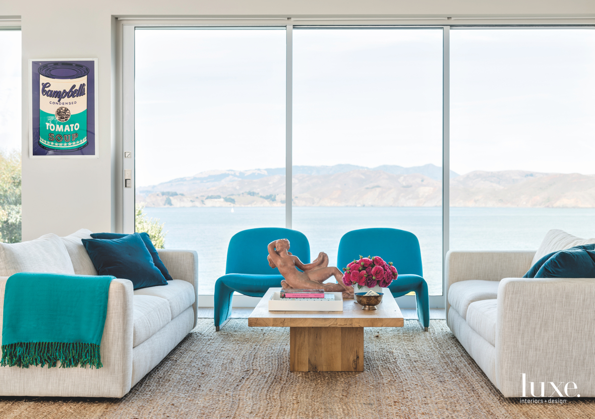 contemporary living room blue accents...