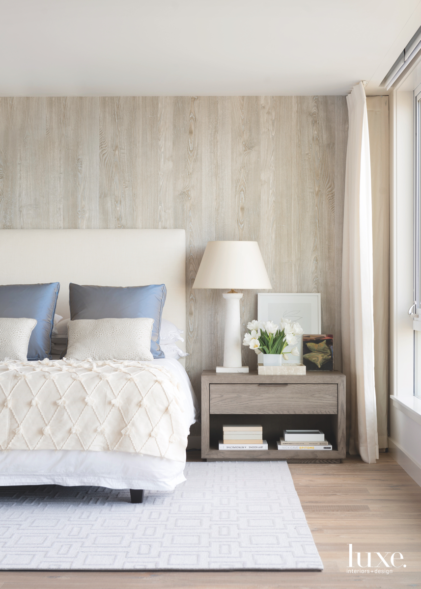 contemporary neutral bedroom faux-wood wallpaper