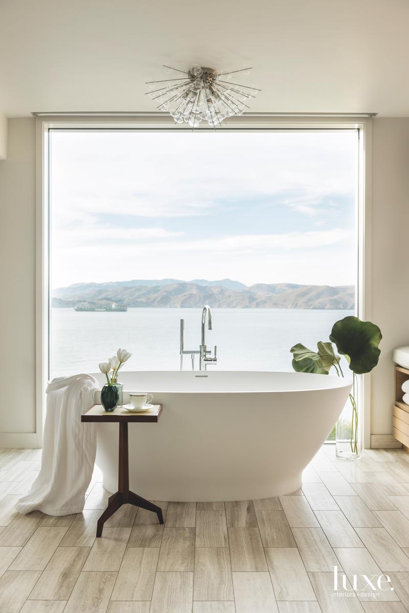 contemporary bathroom white freestanding tub...