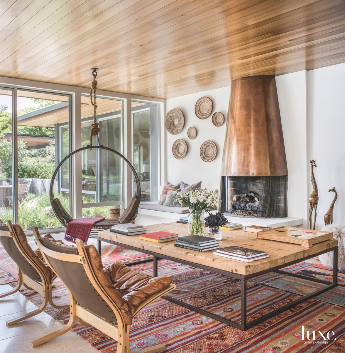eclectic living room fireplace metal...