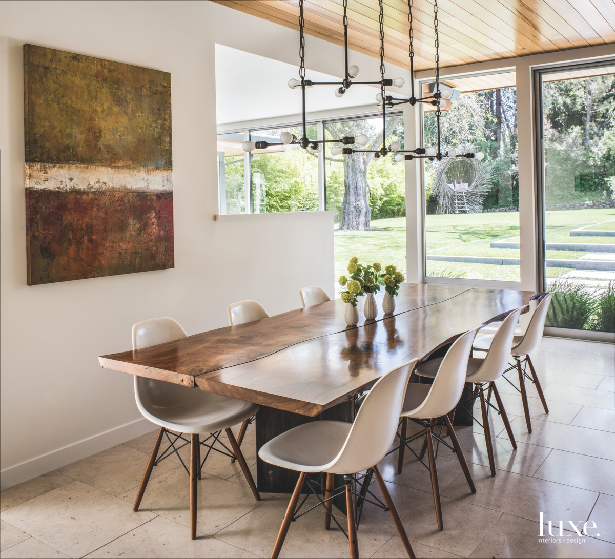 eclectic dining room fiberglass chairs