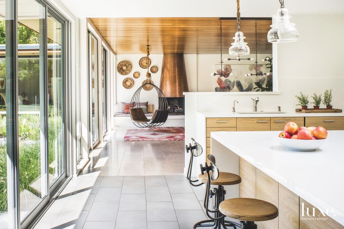 eclectic kitchen living room walkway...