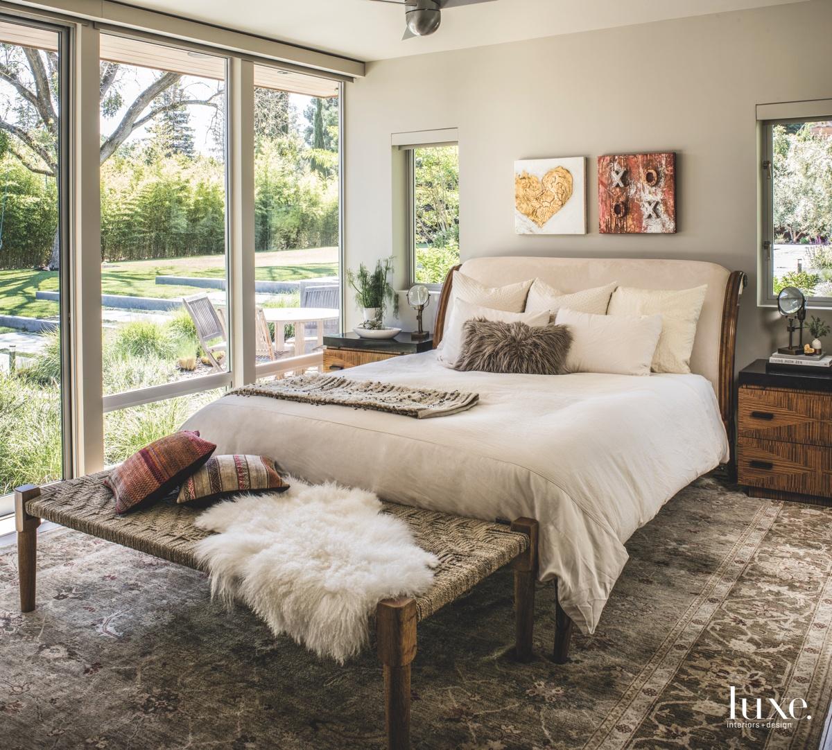 bedroom glass windows woven bench...