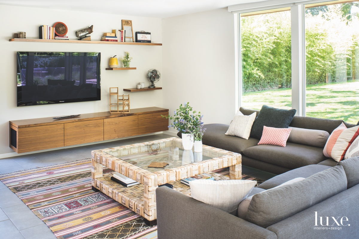 eclectic family room gray sectional...