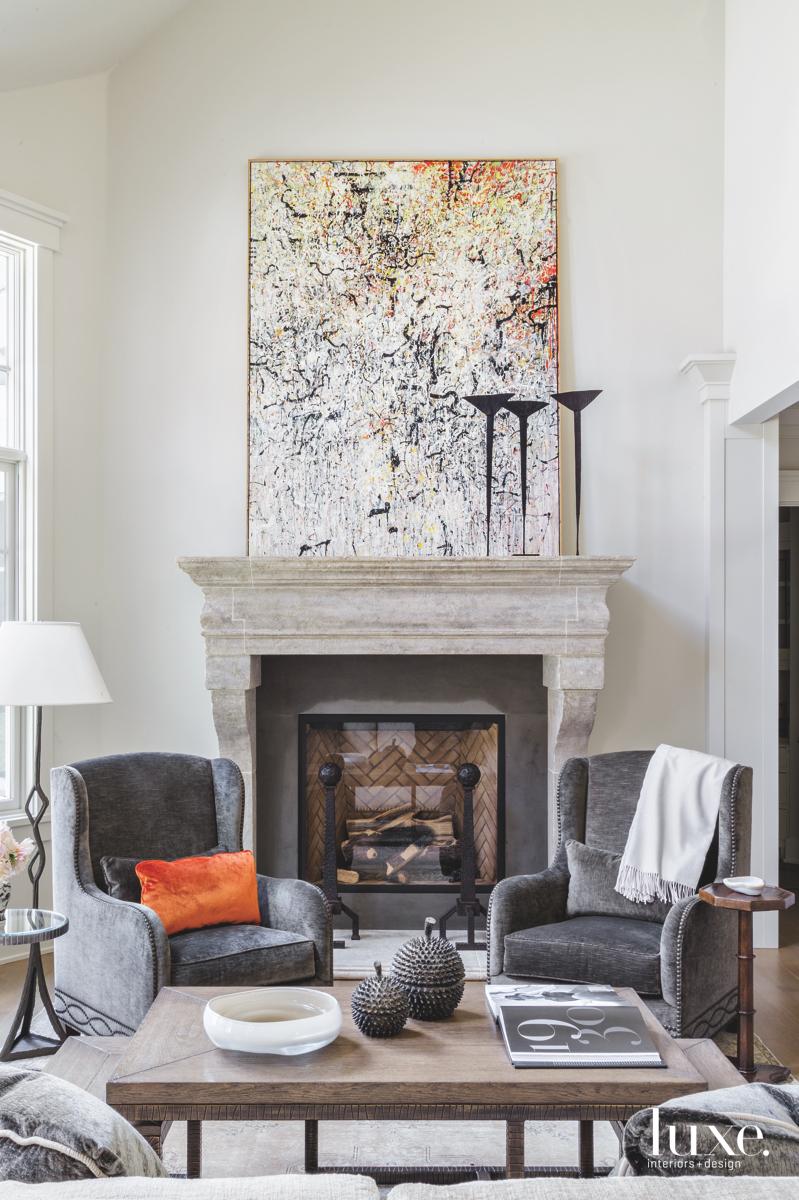 contemporary living room gray velvet...