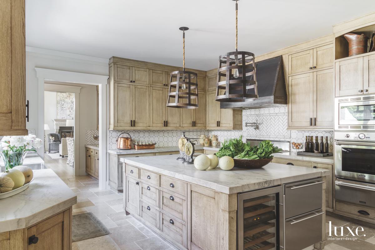 contemporary kitchen neutral limestone floors