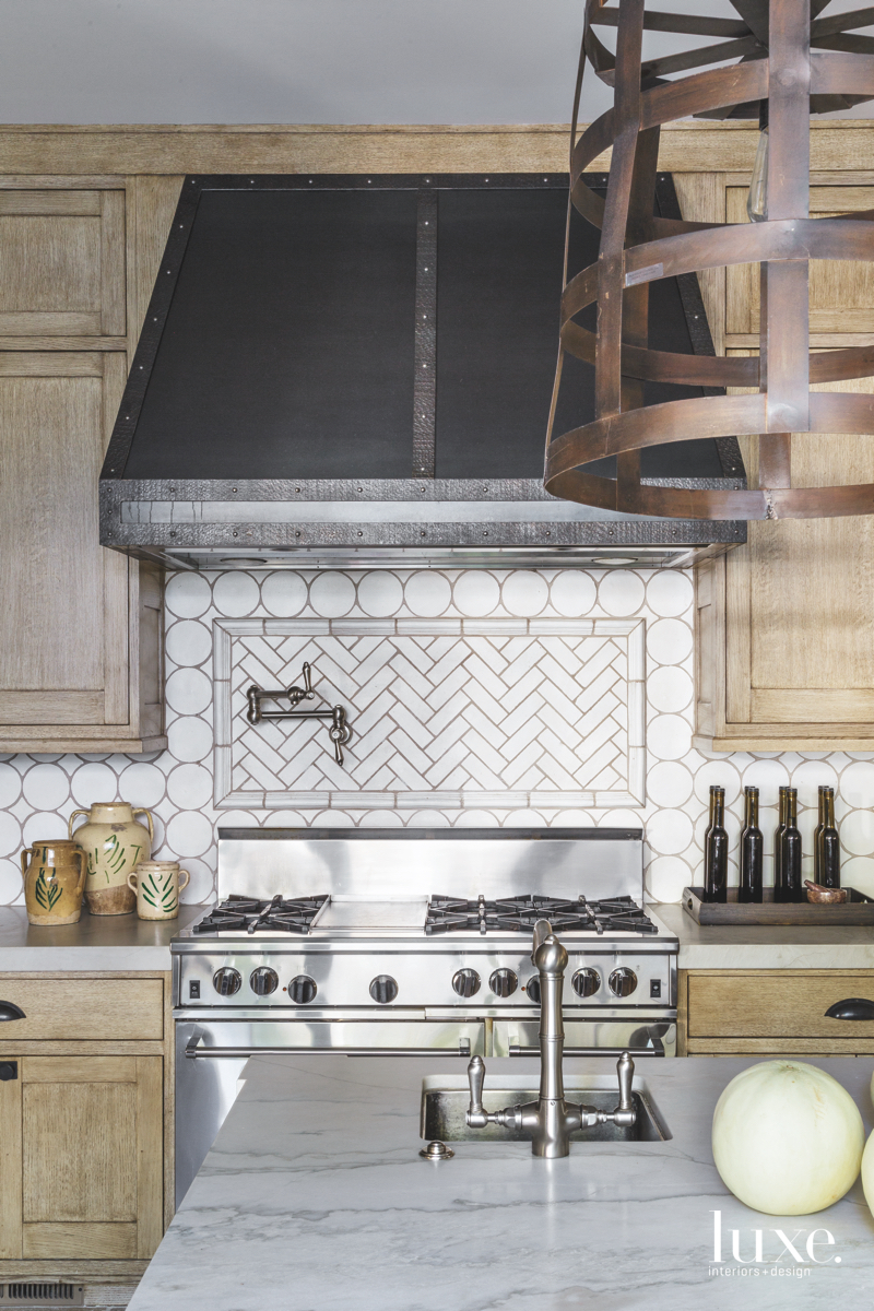 contemporary kitchen metal stove terra-cotta...